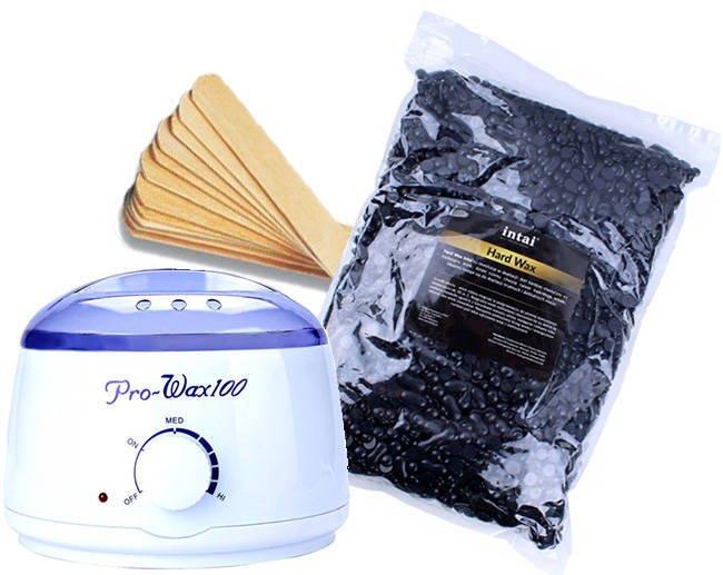 Zestaw podgrzewacz Pro-Wax 100 + wosk  INTAI w granulkach CZARNY 100g
